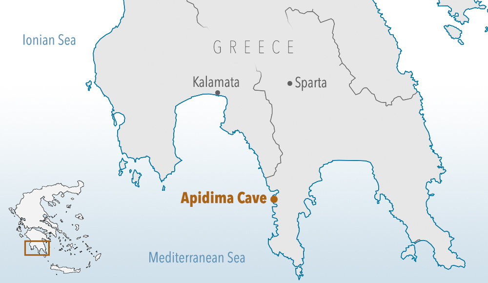 The partial skull was found in the Apidima cave