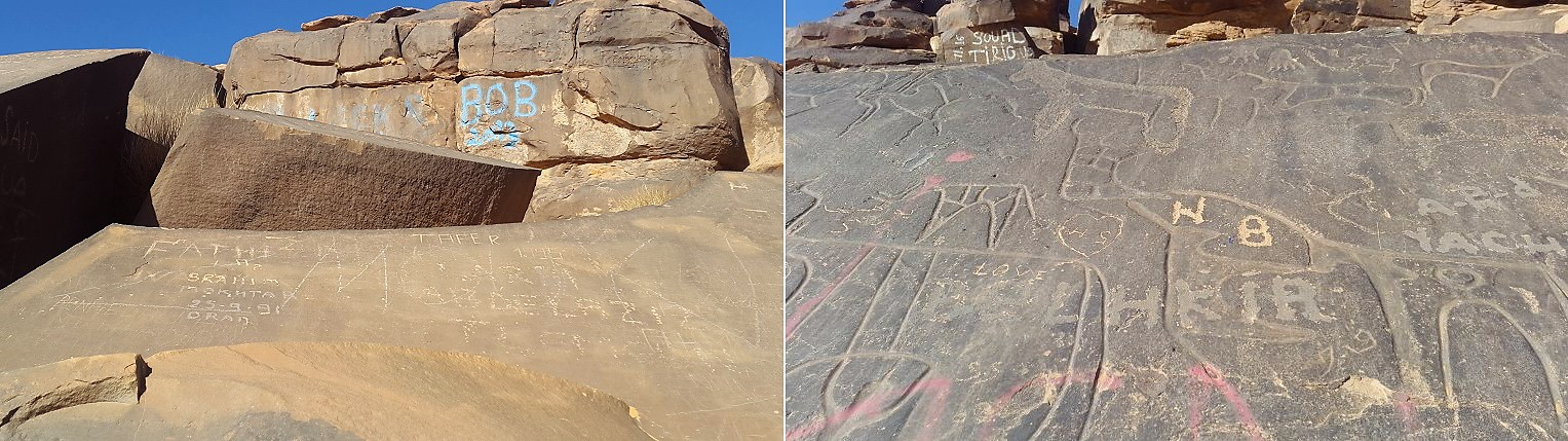 Vandalism at the rock art site of Zaouia Tahtania in Algeria.