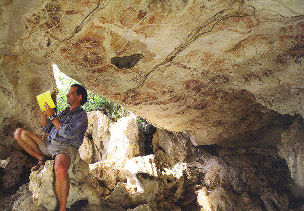 Studying the hand motif rock art in Kalimantan