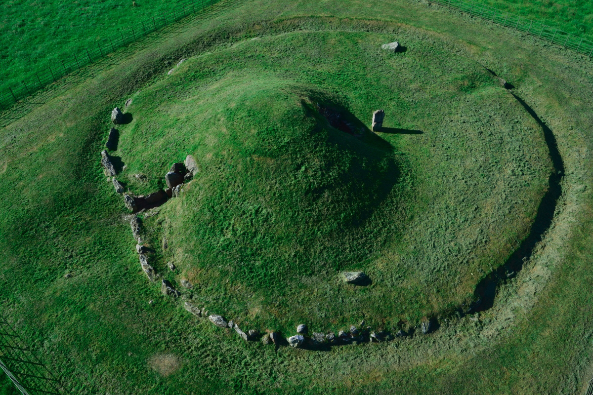 Bryn Celli Ddu aerial shot. Anglesey, Wales