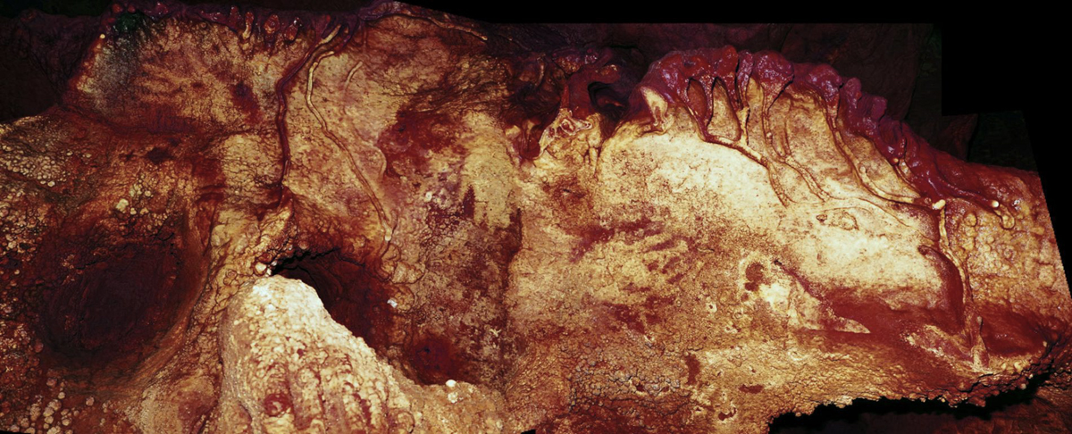 Hand stencils in Maltravieso Cave in Spain dated to at least 66,000 years ago, made by a Neanderthal.
