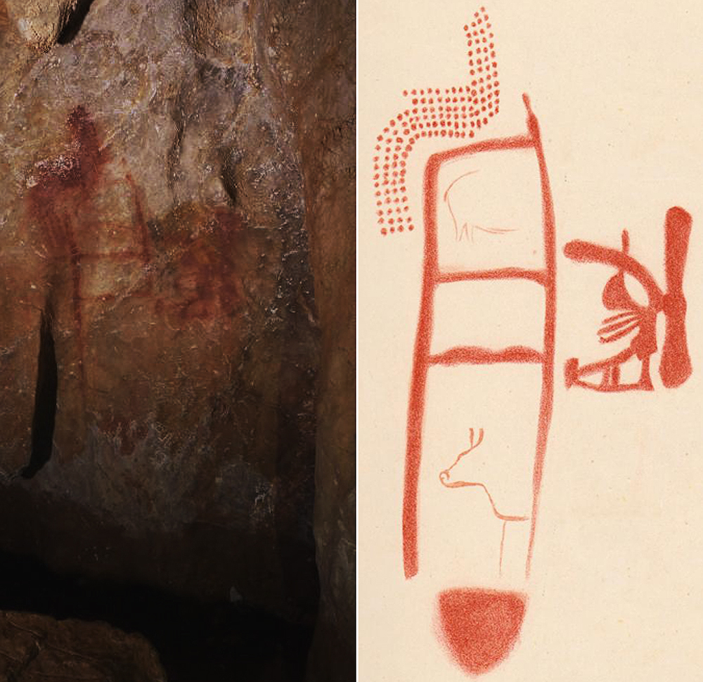 the ladder-like painting in the La Pasiega cave. Animals, visible in a rendering made by Breuil in 1913, right, are thought to have been added later by modern humans