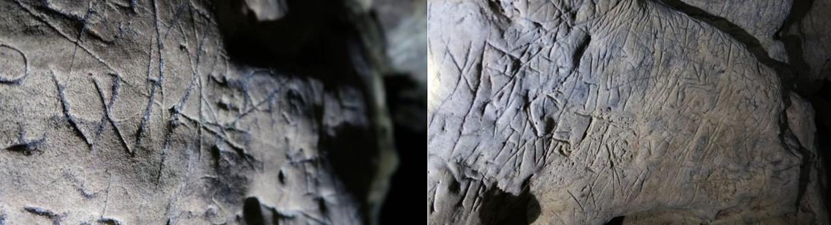 Markings in Creswell Crags. Rock art