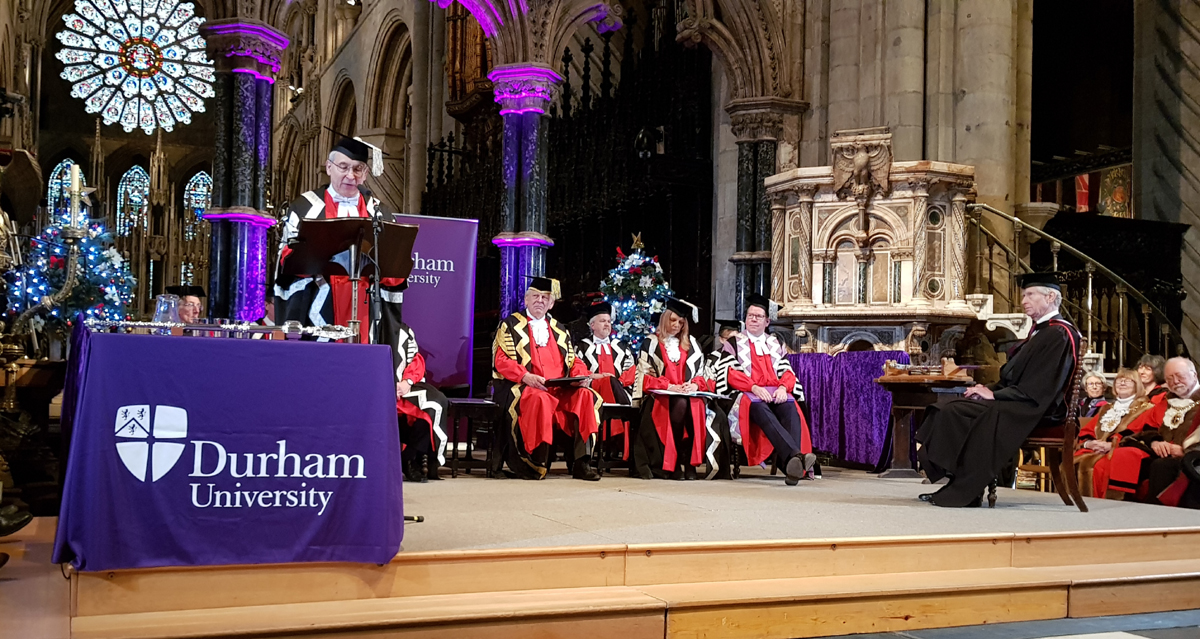 Bradshaw Foundation Chairman awarded honorary degree. Master of Science Honoris Causa is conferred upon Damon de Laszlo at the University of Durham.