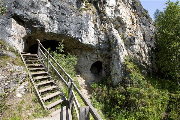 Denisova Cave in the Altai Mountains