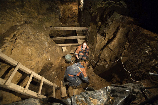 Excavations inside the Denisova Cave