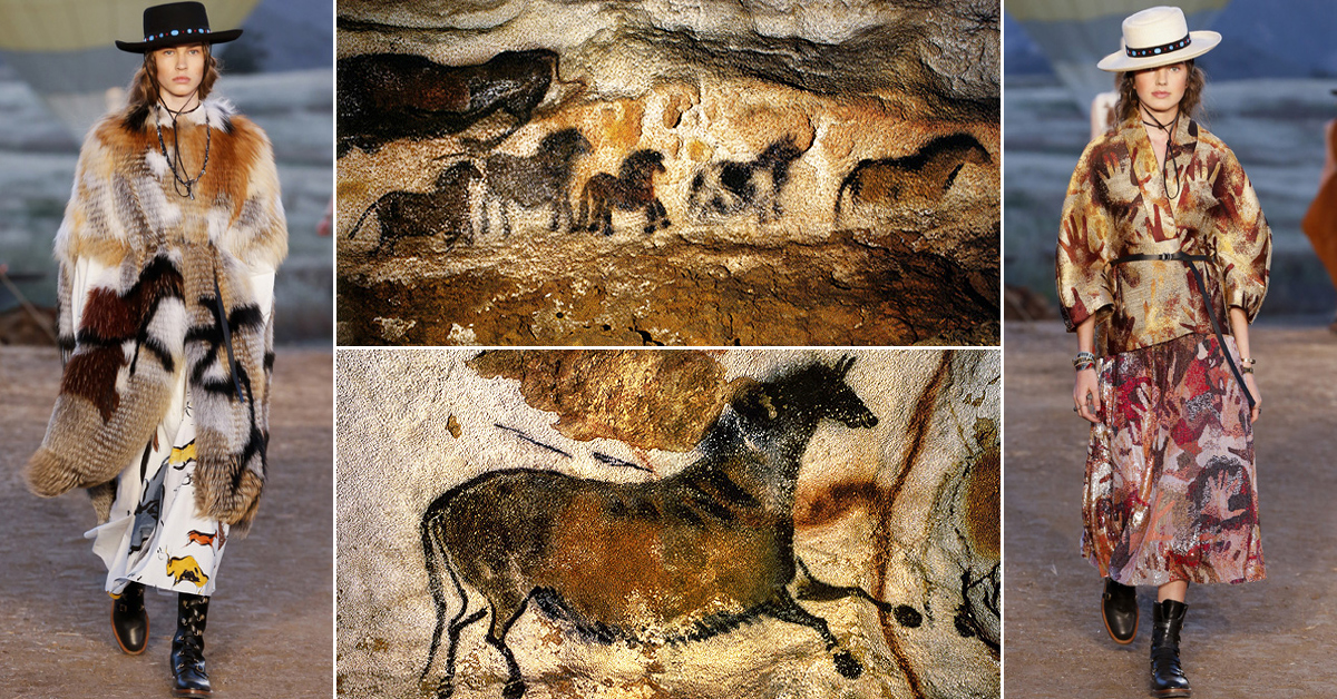 Dior fashion Lascaux Cave paintings rock art