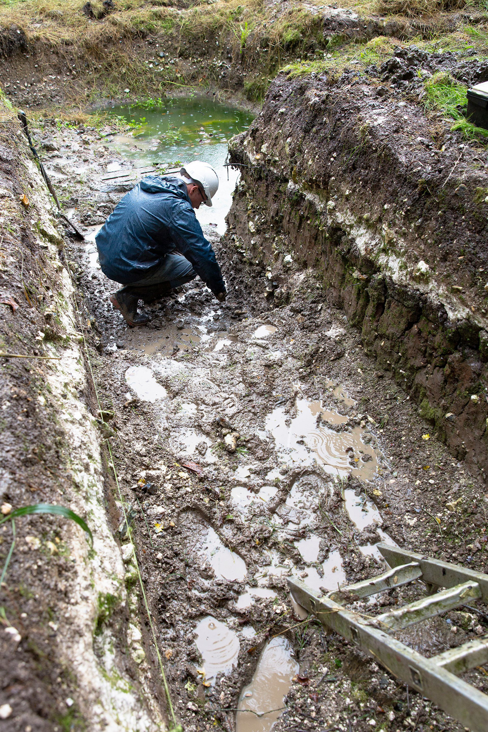 Examination of a trench in Blick Mead