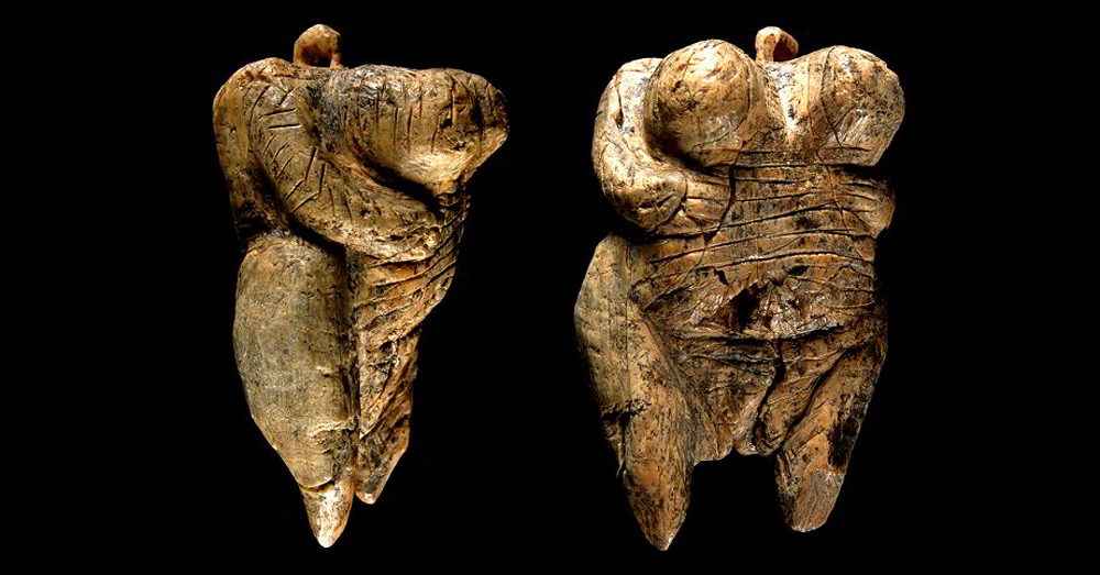 Fragments of female figurine from Hohle Fels Cave, Germany