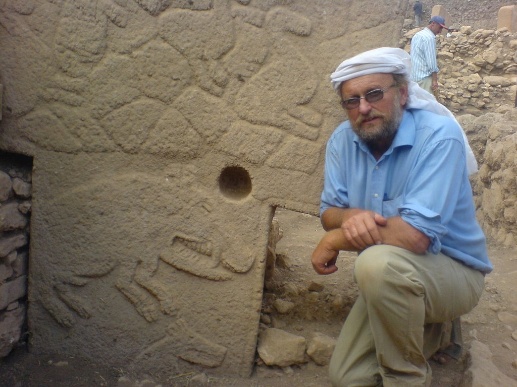 Archaeologist Klaus Schmidt at the Neolithic site of Gobekli Tepe in Turkey