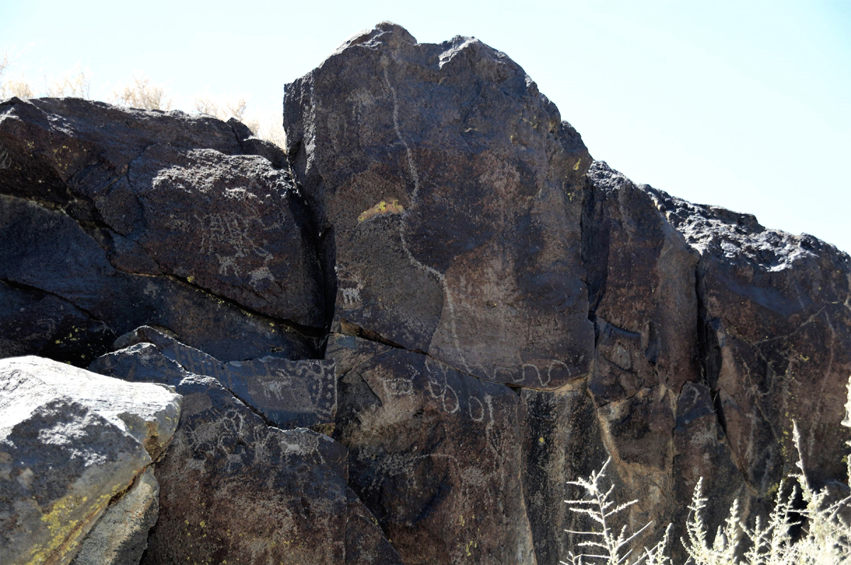 Little Lake rock art. Petroglyphs in eastern California