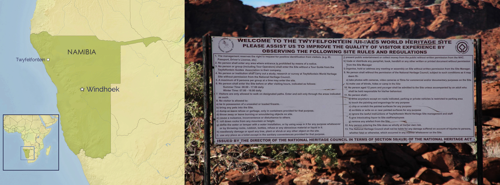 Twyfelfontein in Namibia, Africa, petroglyphs and carvings
