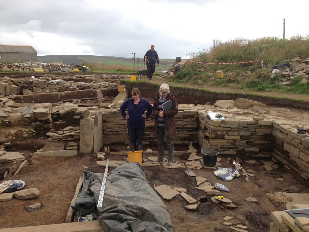 Quarried stone and buildings at Neolithic Ness of Brodgar