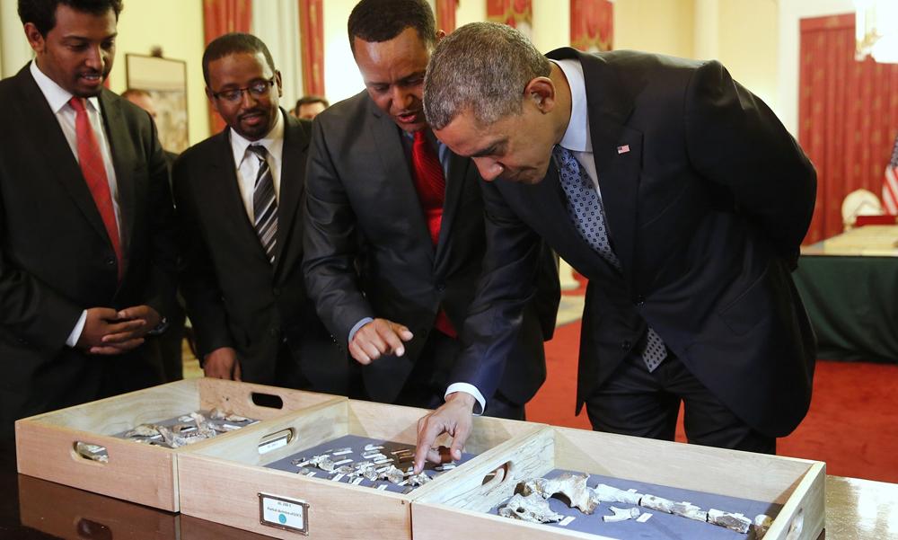 President Obama meets Lucy, Australopithecus afarensis
