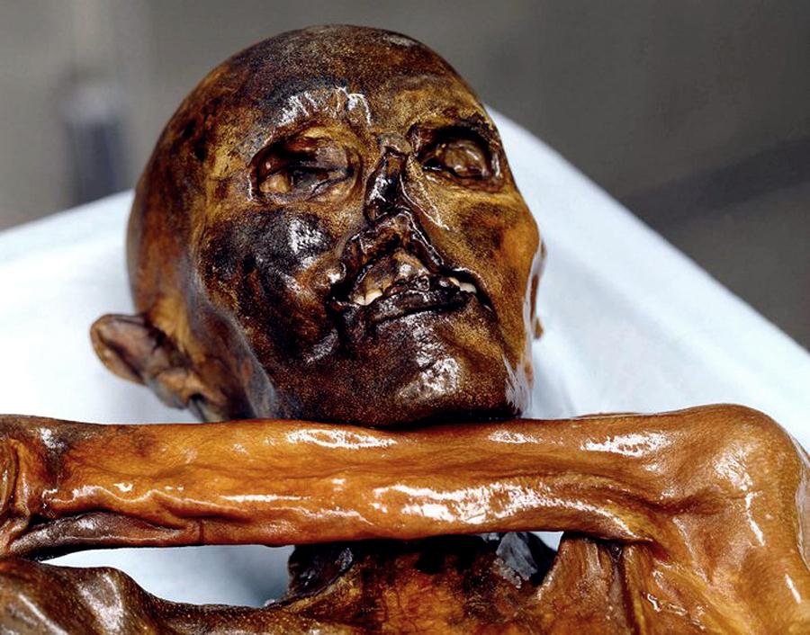 Otzi the Iceman at the South Tyrol Museum of Archaeology