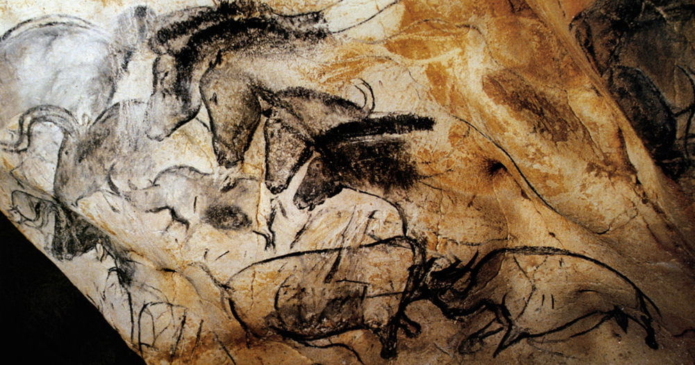 Panel of Horses in the Chauvet cave, France