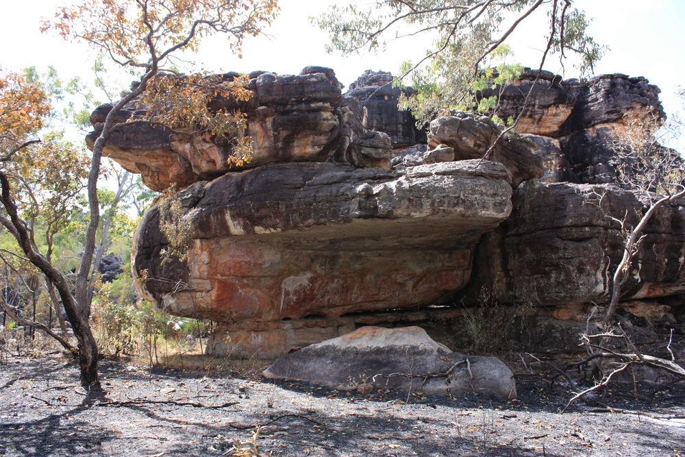 Rock art at this site in Arnhem Land was almost destroyed by fire in July 2013.