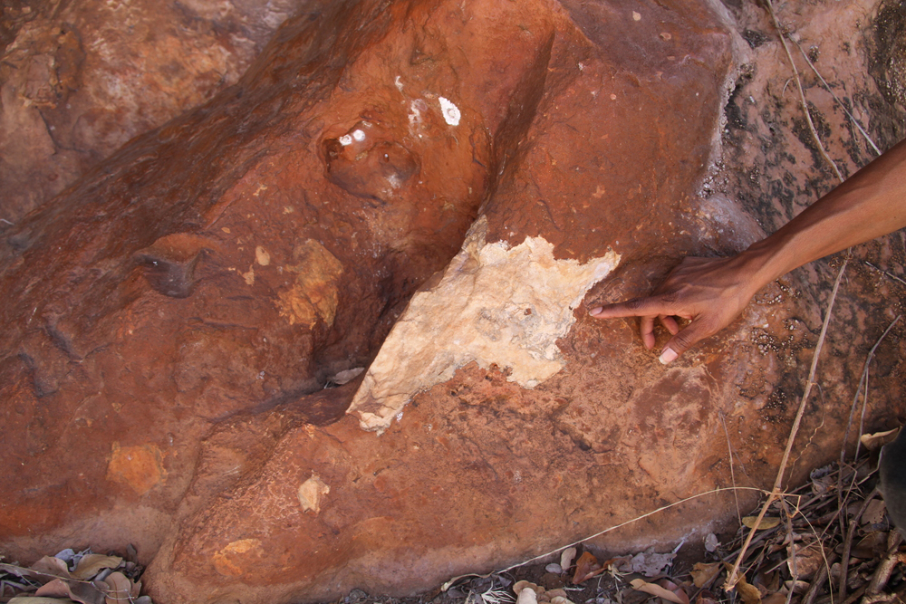 Recent damage by miners below rock paintings and engravings at a rock art site in Chillagoe, Queensland.
