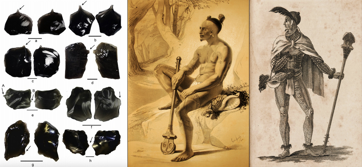 South Pacific Islanders use obsidian for tattoos