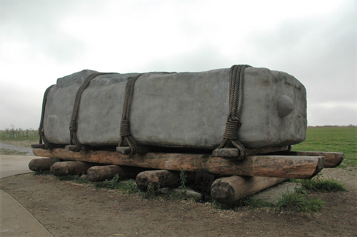 A reconstruction of the stones being moved at Stonehenge Bradshaw Foundation