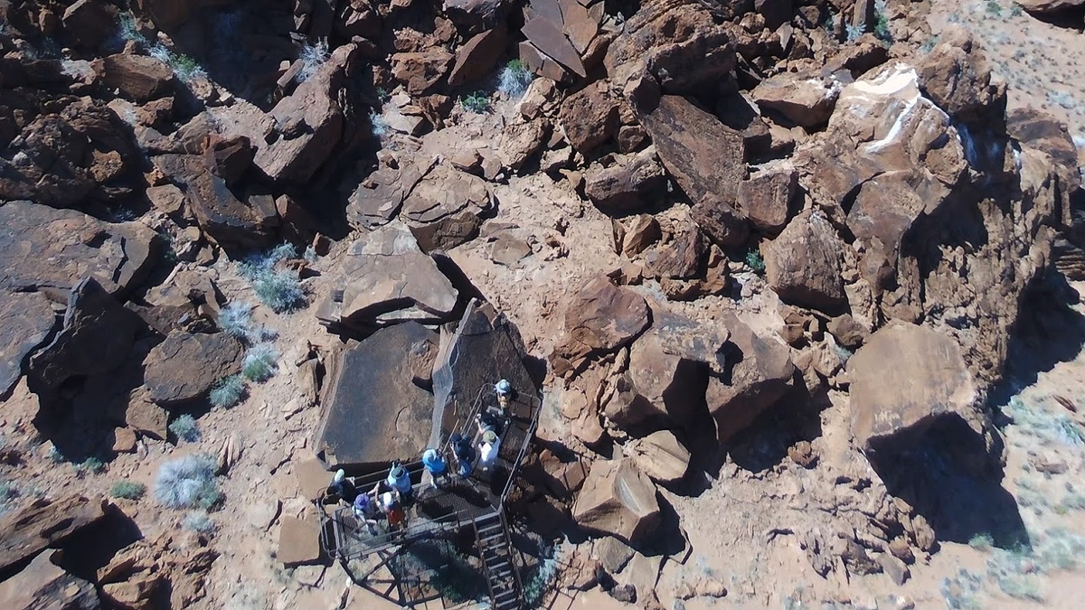 Drone over the rock art and petroglyph engravings of Twyfelfontein in Namibia, Africa