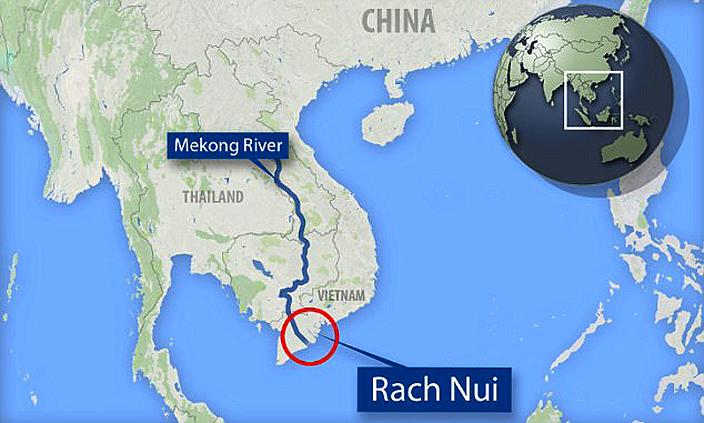 Ancient trade network in Vietnam. Rach Nui in Southern Vietnam