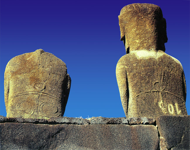 Easter island moai statues and rock art of rapa nui