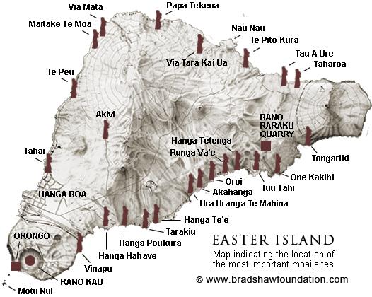 Easter Island Moai Location Map - Easter island map